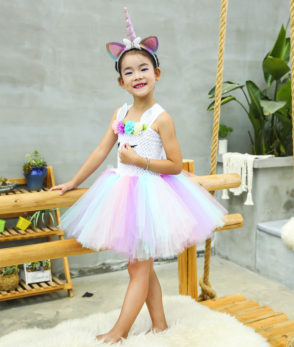 Cute Girl Unicorn Tutu Dress for Little Kid Flower Pony Birthday Party Knee Length Dress Outfit Pastel Unicorn Halloween Costume in Dresses from Mother Kids