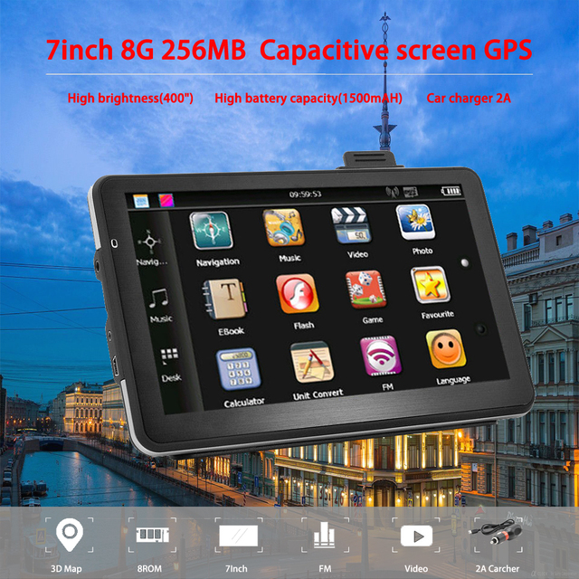 Oriana 7 inch GPS Navigation Capacitive screen 256MB 8GB Car Truck Sat Nav Navigator Europe Free Maps