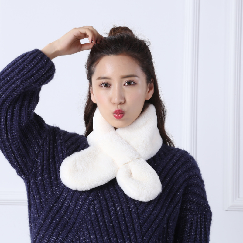 New Style Real Fur   Scarf   Women Warm Winter High Quality Faux Rabbit Fur   Scarves     Wraps   For Female Warmer TKS035-white