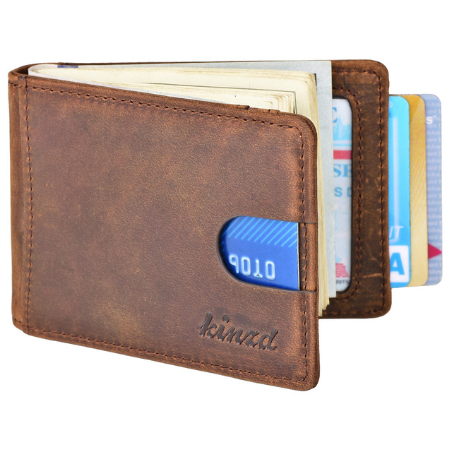 8f3cc4c4a2d5 Kinzd Mens Front Pocket Slim Wallet Bifold Crazy Horse Leather Money Clip  CardHolder RFID Blocking Wallet