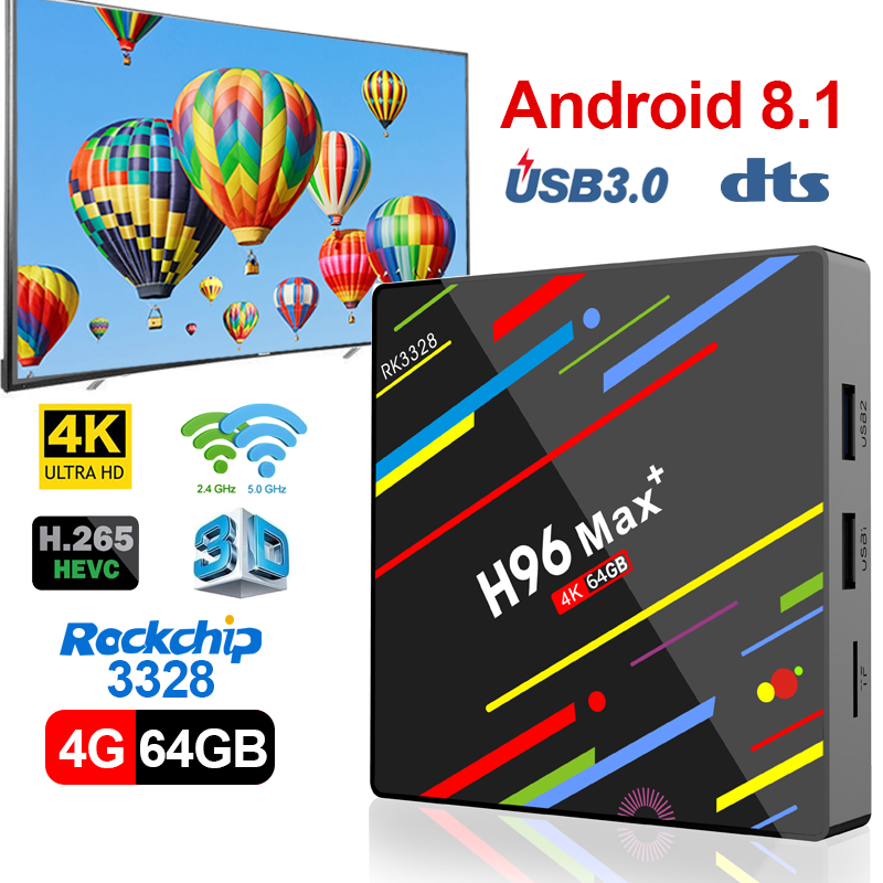 Rockchip RK3328 H96 MAX Plus TV BOX Android 8.1 Smart TV BOX 4 gb 32 gb <font><b>64</b></font> gb <font><b>USB3.0</b></font> h.265 4 k MAX Set Top Boxe Media Player image