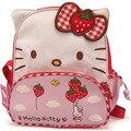 Olá kitty Crianças escola sacos de lona Com Zíper mochilas crianças mochilas saco de Morango Olá Kitty para a menina Bonito mochilas escolares
