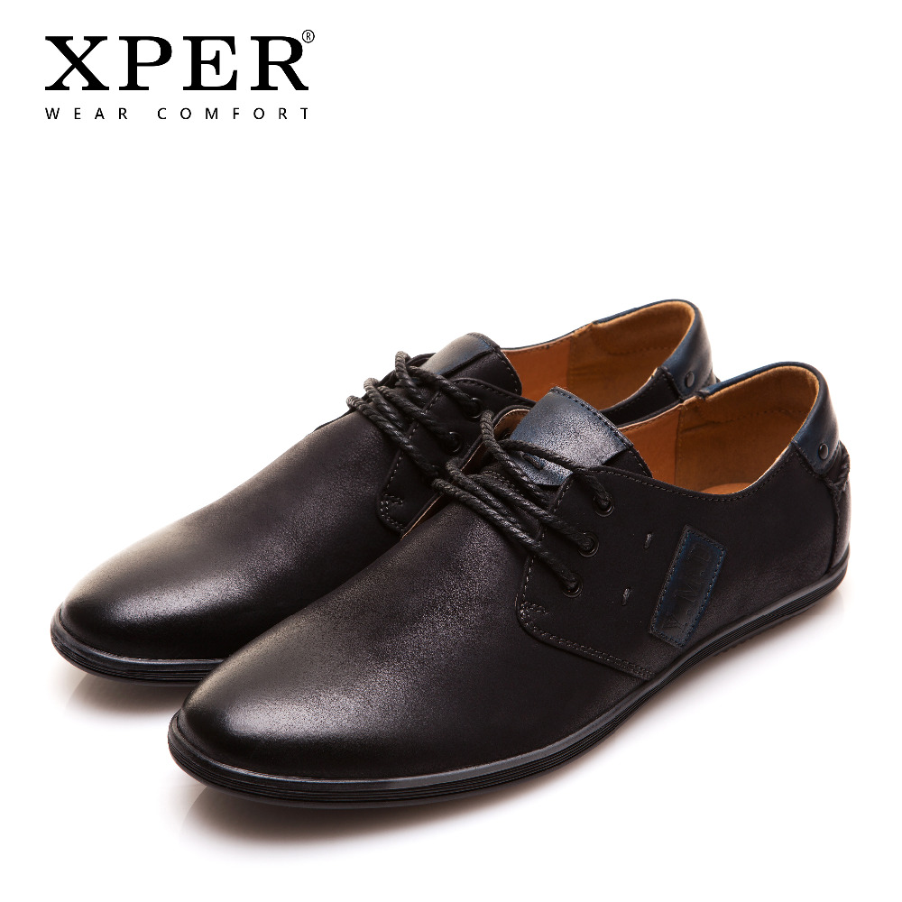 2018 XPER Mens Casual Shoes Lace-up Black Men Flats Shoes Business Shoes Big Size Chaussure Homme YM86832BL