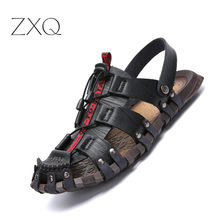 New Summer Men Sandals Breathable Leather Beach Brand Casual Shoes Comfortable Slip-on Cheap