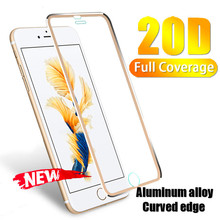 20D Aluminum alloy Full Protective Glass On For iPhone 6 8 7 6s Plus Screen Protector Film X 5 5S XR XS MAX Tempered