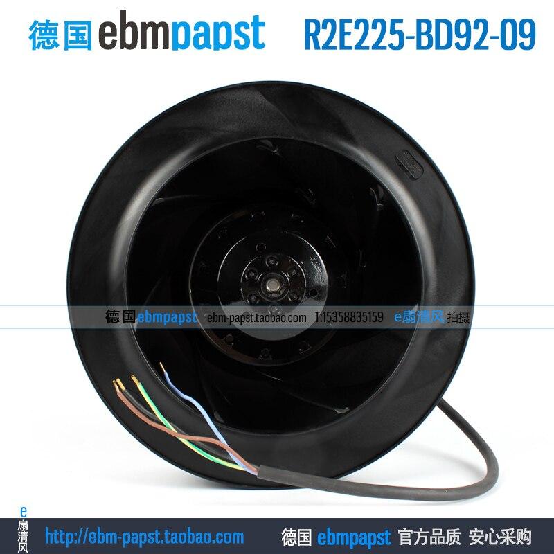 Original new ebm papst R2E225-BD92-09 AC 230V 0.60A 225X225mm Server Round fan new original ebm papst g2d180 ae02 01 ac 220v 380v 0 66a 415w 180x180mm server blower fan