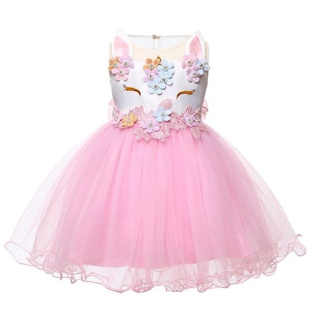 1dd9ad11c Navidad bebé niña vestido 2018 Inant princesa unicornio vestido para niñas  niños bautizo 2 1 años Primer Cumpleaños chica fiesta vestido