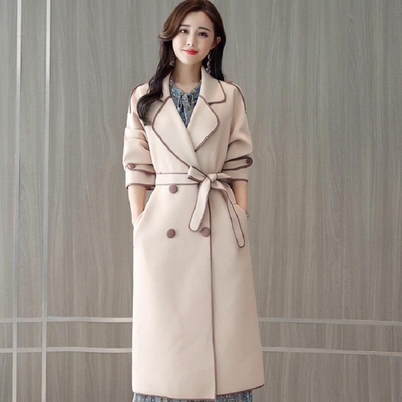Survêtement khaki Tranchée Manteau Jacket Trench Femmes longue De Vêtements Blue Automne Milieu hiver Européenne dsQthr