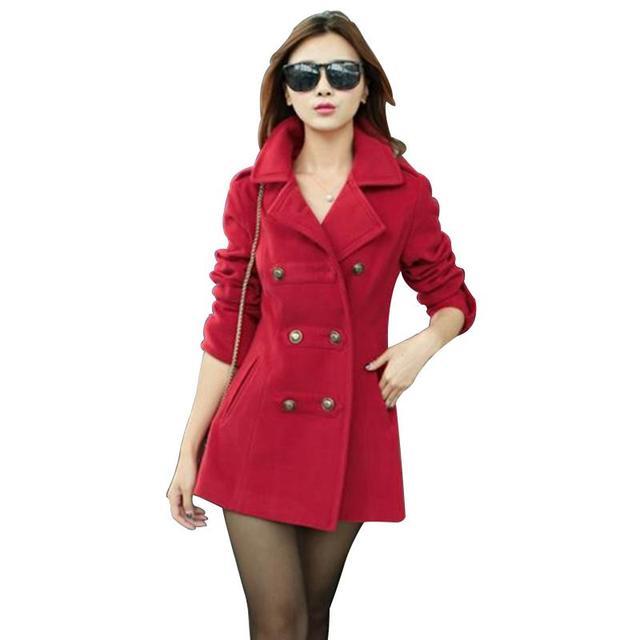 Женская мода Шерстяные Пальто Высокого Качества Тонкий Теплые Шерстяные Пальто Куртки Корейский Стиль Темно-Синий/Красный