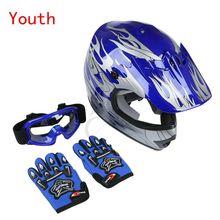 motorcycle New DOT Youth Helmet Blue Flame Dirt Bike ATV MX Motocross Helmet Goggles+gloves S M L