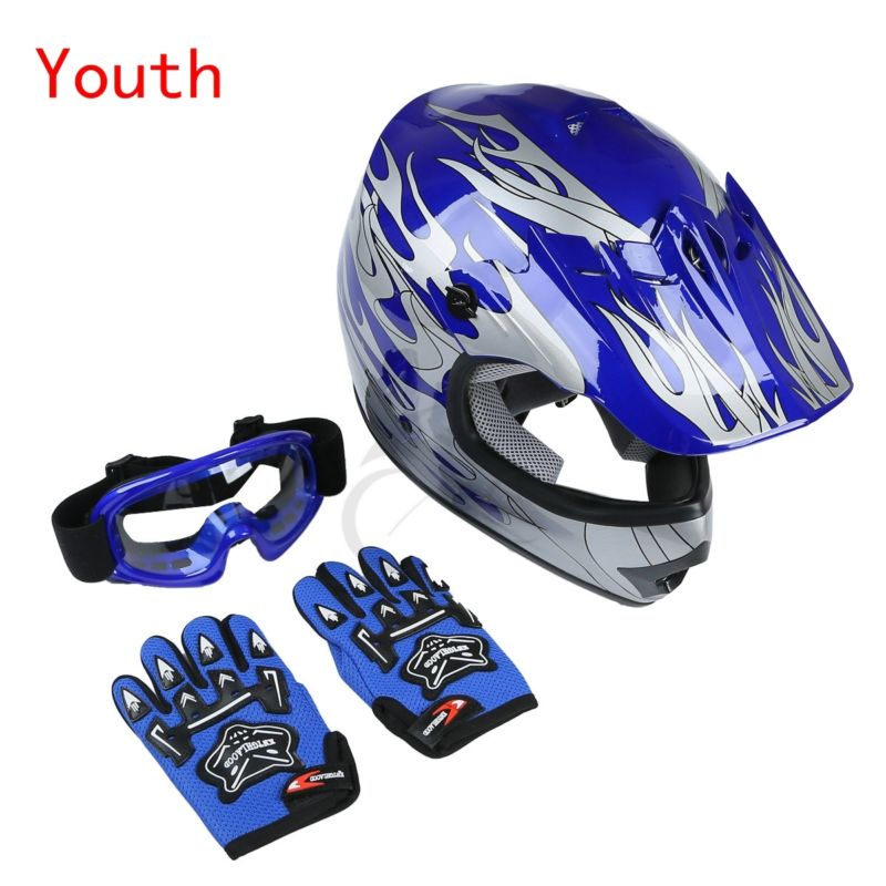 motorcycle New DOT Youth Helmet Blue Flame Dirt Bike ATV MX Motocross Helmet Goggles+gloves S M L