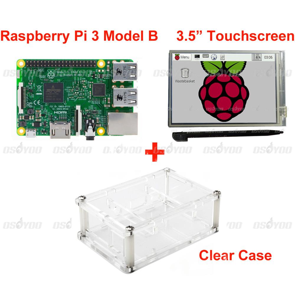 """Prix pour Raspberry Pi 3 Modèle B Conseil + 3.5 """"LCD Écran Tactile avec Stylet + Acrylique Cas Livraison Gratuite"""