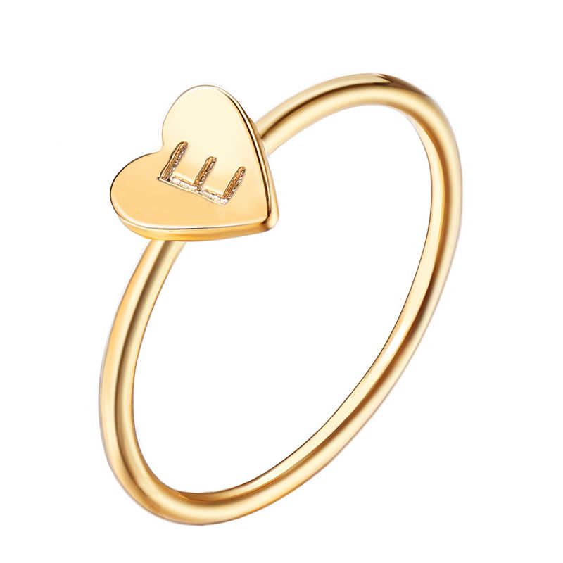 Personalized Hand Stamped Stacking A-Z Initial Ring Bohemian Engraved Letter Rings for Women Gold Color Heart Rings VR424
