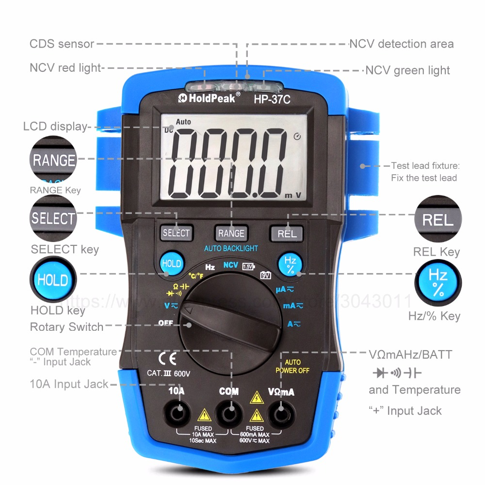 Multimeter Mini Portable Digital Multimeter Ammeter Voltmeter Ohm Frequency Diode Temperature NCV Test