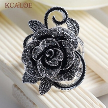 KCALOE Black Flower Rings For Women Crystal Cubic Zirconia Vintage Jewelry Silver Plated Rings Accessories Aneis Feminino Ring