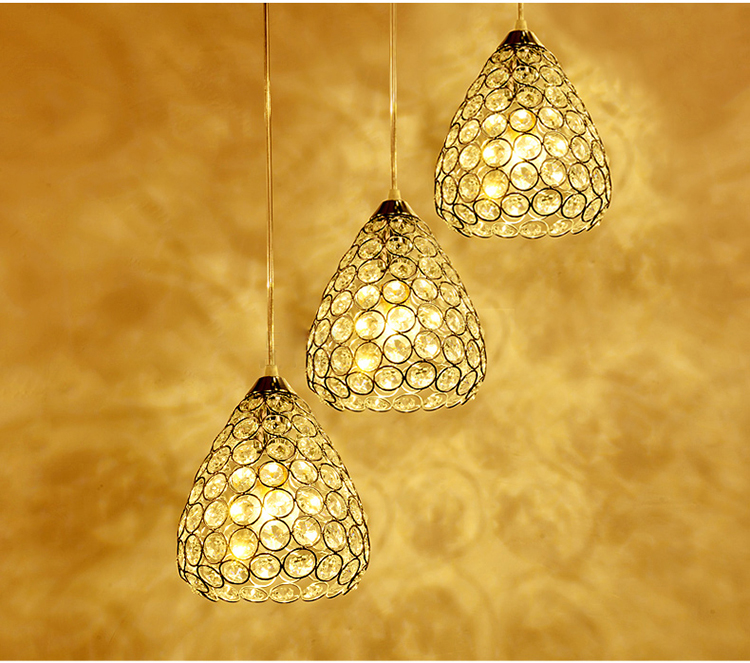 1/3 heads lamps Restaurant pendant lamp three head ceiling LED crystal dining hanging lamp dining room bar modern FG715