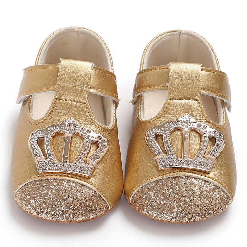 Baby Spring Autumn PU Newborn Baby Girl Princess Shoes PU Crown Bling Princess Shoes First Walker