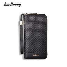 Baellerry Luxury Brand Men Wallets Long Men Purse Wallet Plaid Male Clutch Leather Zipper Wallet Men Business Wallet Coin Pocket цены