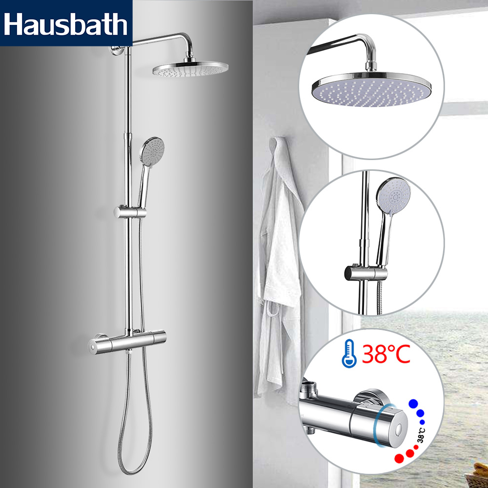 Thermostatic Faucet Shower Set Bathtub Faucet Chrome Wall Mounted Tropic Rain Shower Bathroom luxury high quality bathroom chrome rain shower set thermostatic shower faucet bath