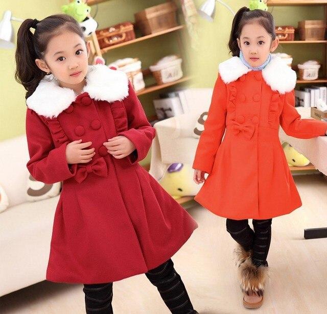 Baby girls jacket fashion Wood ear white fur collar warm coats for girls children's long long sleeve outwear winter kids coat