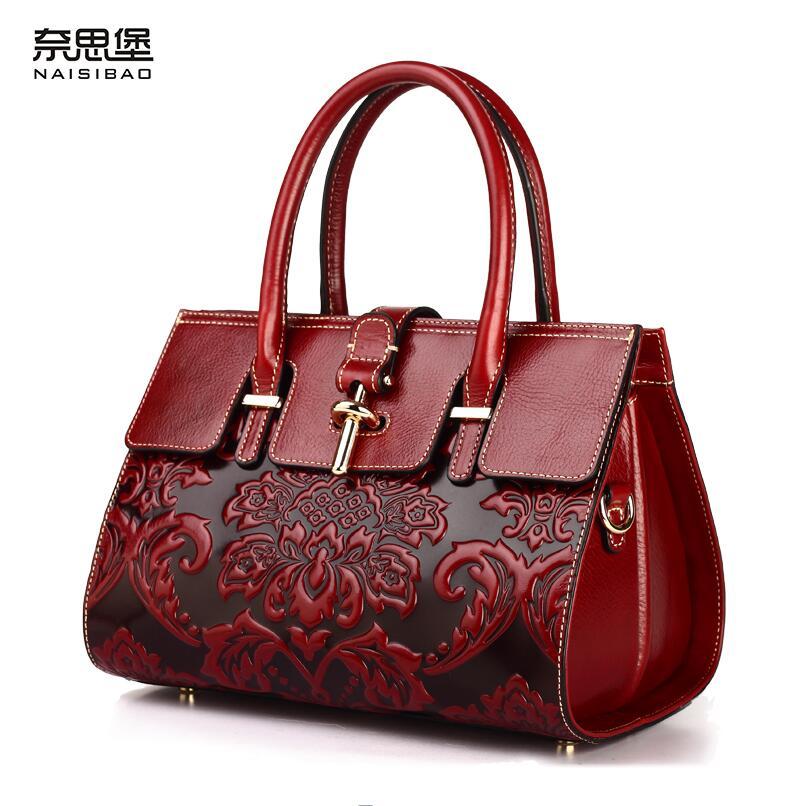 ec835d28c338 Новинка 2017 года натуральная кожа женщины сумку китайский стиль тиснение  модные женские сумки на ремне идеально коровья кожа сумка