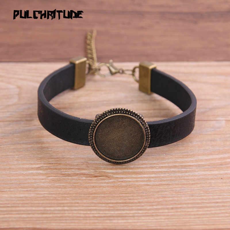 1 pièces 6 couleur motif bracelet en cuir synthétique polyuréthane Bronze Base ronde réglage manchette plateaux vierges brasero ajustement 18mm verre camée dôme Cabochon bijoux à bricoler soi-même