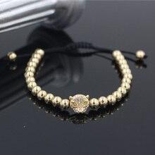 Fashion Gold Color Pave CZ Leopard Head Charm Braiding Mala Bracelet Macrame Knitted Weave Copper Bead Bracelet For Men Women цены онлайн