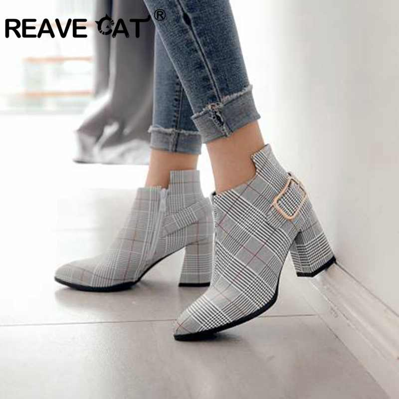 REAVE CAT Big size Spring Autumn Pointed Toe Mid Square heel Women ankle boots Ladies chaussures