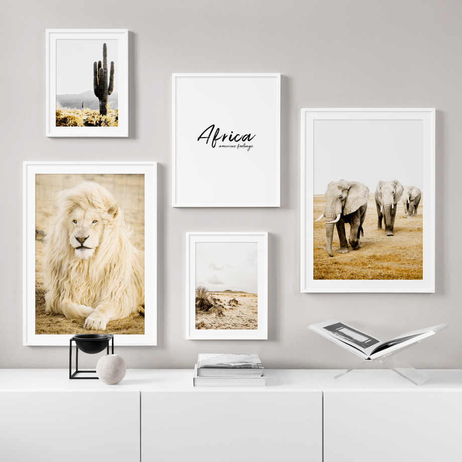 Africa Lion Elephant Giraffe Zebra Cactus Nordic Posters And Prints Wall Art Canvas Painting Wall Pictures For Living Room Decor