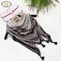 110*110CM 1PC 2017 Spring New Ethnic Style Cotton Women Fashion Tassels Square Scarf Woman Viscose Tassels Shawls Pashminas