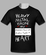 Heavy Metal Broken My Heart Black T-shirt Size S To 3XL Short Sleeve Round Neck T Shirt Promotion Black Cotton T-Shirt Top Tee