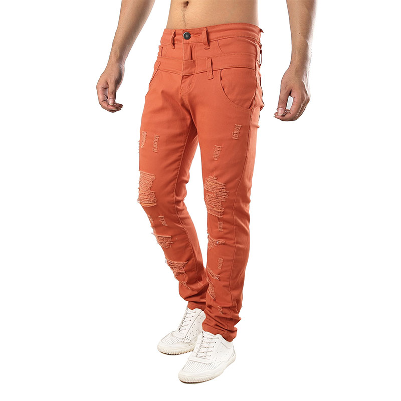 2019 The New Orange Men's Holes Casual Jeans Fake Double Pants Personality Men's Casual Trousers