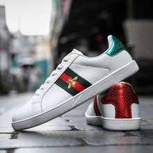 High Quality Men Bee Embroidery Little White Shoes Male New