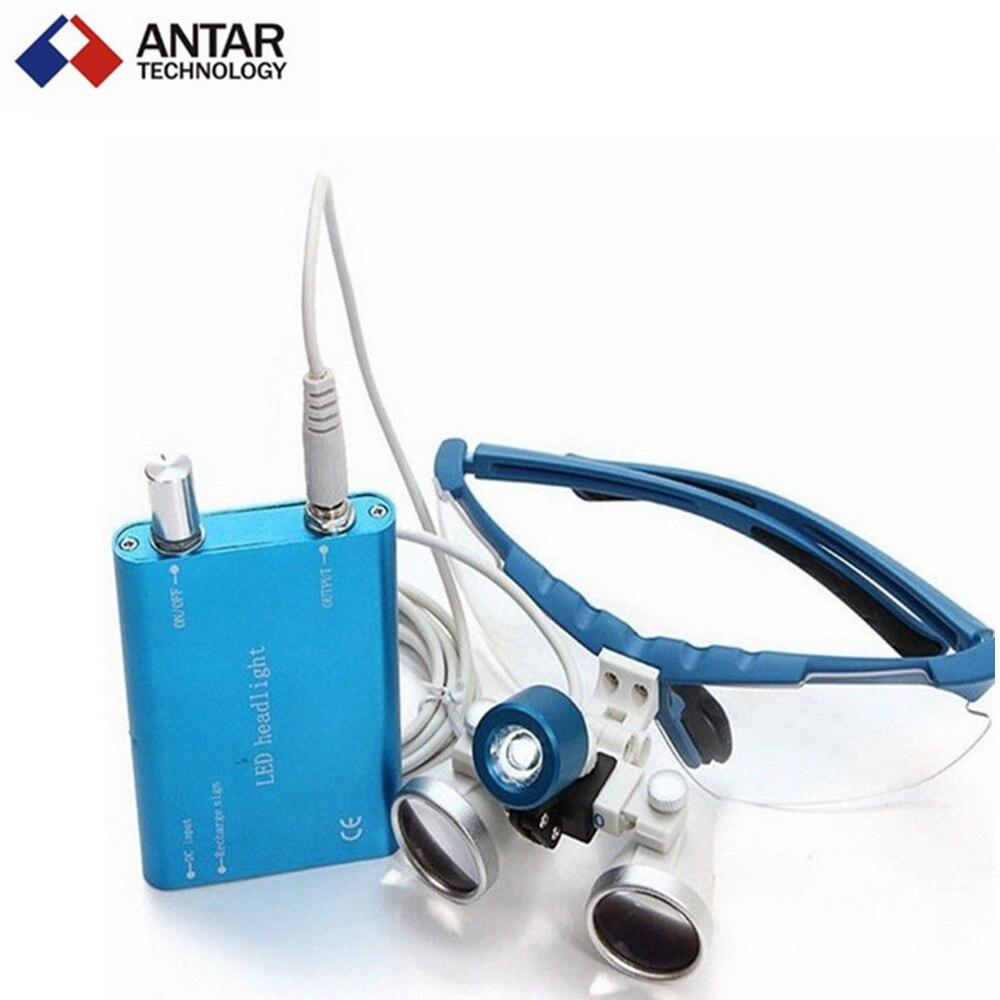 ФОТО AT0427 Dental Equipment Surgical dental glasses 3.5X 420mm +LED Head Light Lamp dental lab BLUE AA+ Medical dental Loupes