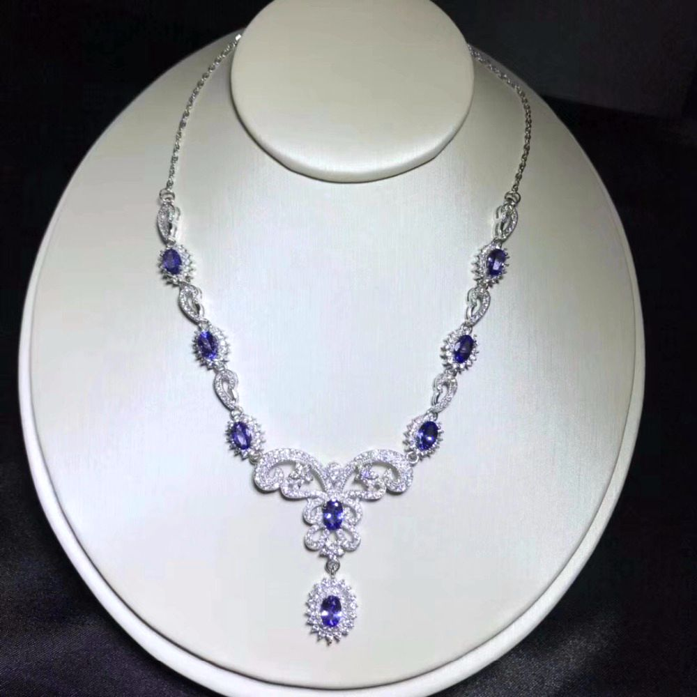Uloveido Natural Tanzanite Flower Necklace for Women 925 Sterling Silver Platinum Plated 4 6mm 8 Pcs