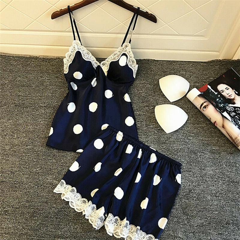 2Pcs Women Lady Sexy Satin Lace Polka Dot Sleepwear Babydoll Lingerie Nightdress Pajamas Sets Underwear Sleeveless