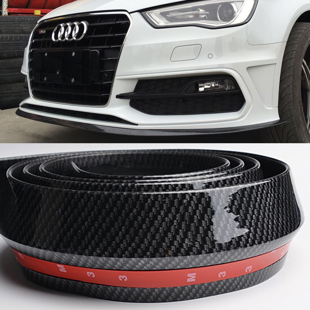 Universal Fake Carbon Fiber PU Car Front Bumper Lip Spoiler Splitter Side Skirt Car Boky kit Trim 2.5 meters