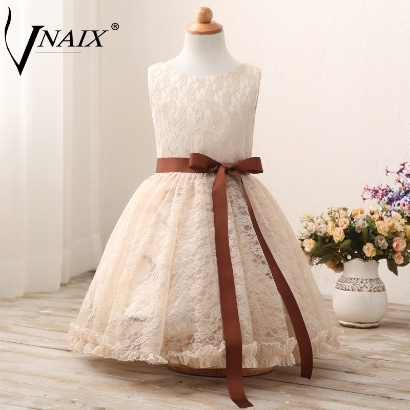 Vnaix F1012 Flower Girl Dresses Simple Lace Pageant First Communion Dress Free Shipping