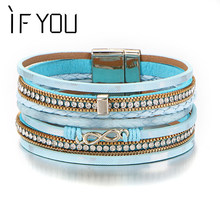 IF YOU Infinite Pattern Multilayer Leather Bracelets Bangles Fashion Crystal  Beads High Quality Charms Bracelets For Women Men 27f98a7122c6