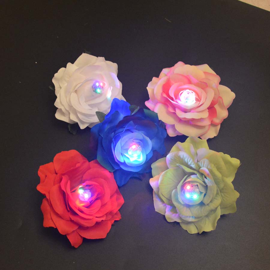 LED Glowing Blinking Hair Clips Rose Flower Wedding Bridal Barrette Headwear Decor Campfire Party Beach Corsage Brooch Hairpin