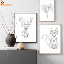 Canvas Art Fox Deer Elephant Wall Painting Minimalism Black White Animal Posters And Prints Geometric Pictures Kids Room
