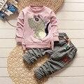 2016 niños del otoño del resorte de dibujos animados bandera dragón ropa set niño y niñas casuales de manga larga t-shirt + plaid pantalones 2 unids/set nuevo