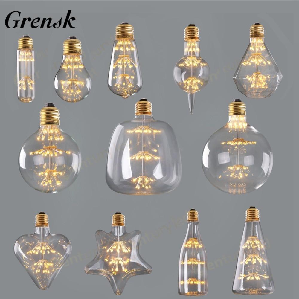 ST64 A60 G80 G95 Retro Starry Sky Dimmable led Bulb 3W 2200K E27 220V Wine Bottle Decorative Firework Lightbulb Lamp Lampada Led