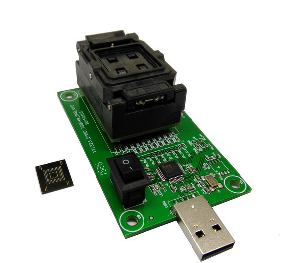 eMMC socket with USB size 11.5x13_0.5mm,eMMC socket nand flash testing, for BGA 169 and BGA 153 testing, Clamshell-in Integrated Circuits from Electronic Components & Supplies    1