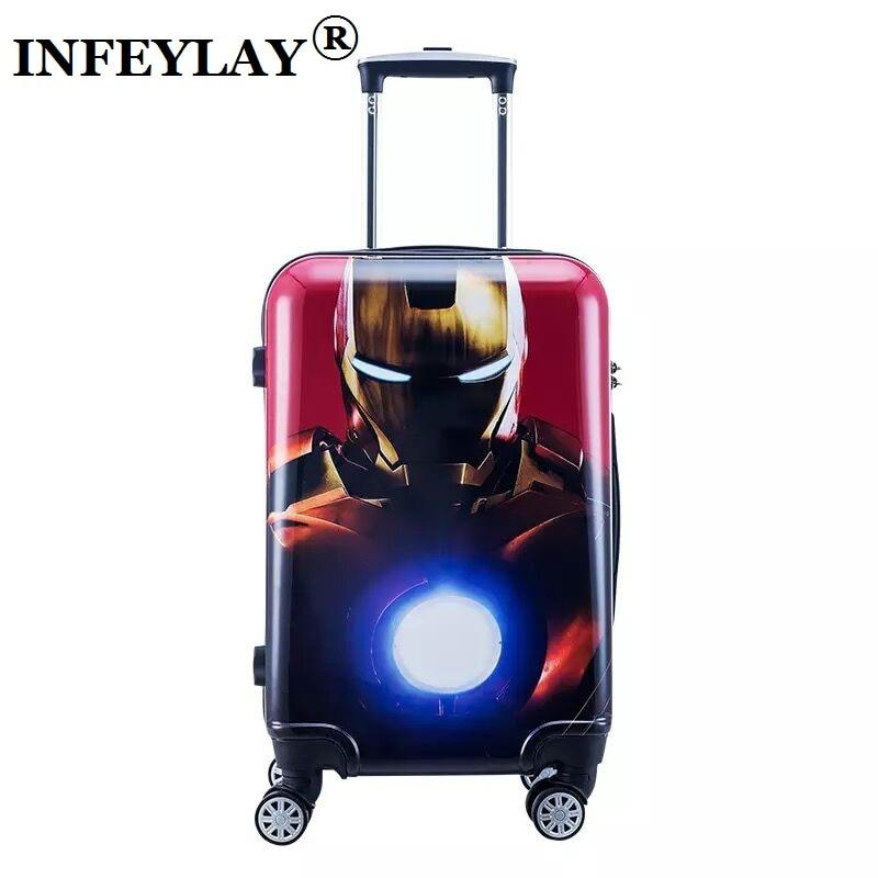 цены на 20/24inch cool anime  Captain America boy trolley case Travel luggage Iron Man rolling suitcase Spider-Man business Boarding box в интернет-магазинах