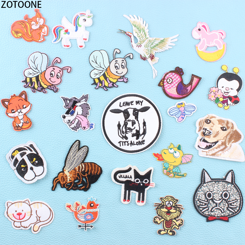 ZOTOONE Unicorn Animals Diamond Patches for Clothing Stripes Applique Embroidery Patch Garment Sticker on Clothes Applications E