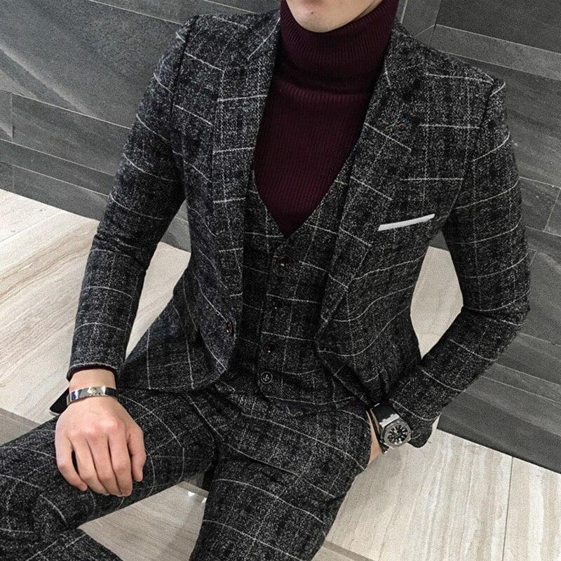 (Куртка + жилет + брюки) мужской костюм, пиджак из шерсти английский джентльмен/Свадебный деловой клетчатый мужской костюм