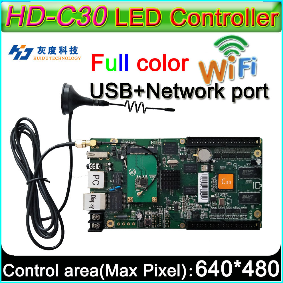 HD-C30+WIFI Full Color Asyn LED Display Control Card, P3 P4 P5 P6 P8 P10 LED Display Controller, On Board Flash  4GB