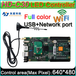 HD-C30 + WIFI Volledige kleur Asyn LED display controlekaart, P3 P4 P5 P6 P8 P10 LED display controller, op board Flash 4 GB
