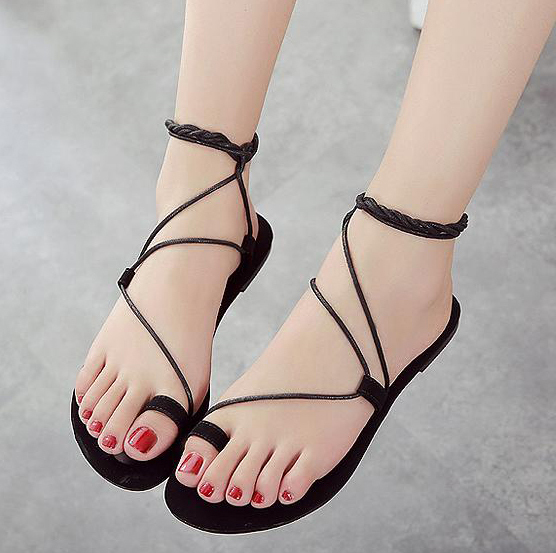 93cbb19331f1 2015 Summer New Style Sweet Lace Up Gladiator Sandals Women Fashion Solid  Flock Flat Sandals In Beige   Black-in Women s Sandals from Shoes on ...